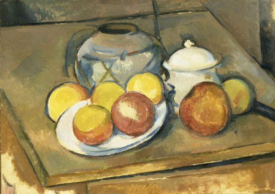 Cezanne, Paul: Straw-Trimmed Vase, Sugar Bowl and Apples. Fine Art Print/Poster. Sizes: A4/A3/A2/A1 (004227)